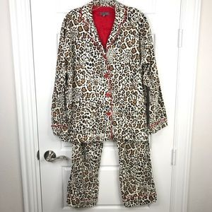 PJ SALVAGE Leopard Print Cotton Flannel Pajamas S